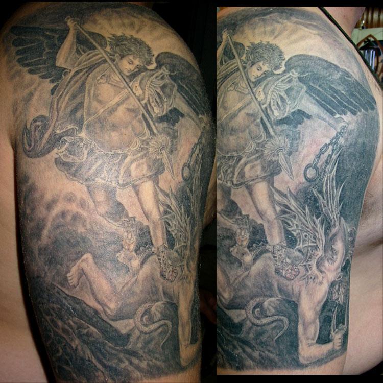 St michael tattoo chest